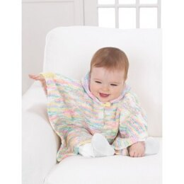 Sweet Hooded Poncho in Bernat Baby Coordinates Ombres