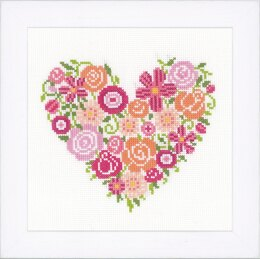 Vervaco Floral Heart Cross Stitch Kit