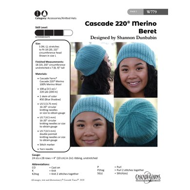Beret in Cascade Yarns 220 Merino - W779 - Downloadable PDF