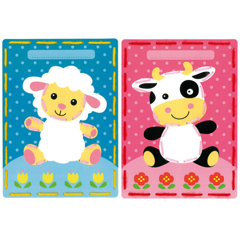 Vervaco Embroidery Kit: Cards: Lamb and Cow: Set of 2 - 18.5 x 26cm