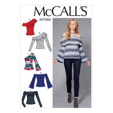 McCall's Misses' Off-The-Shoulder Knit Tops M7686 - Sewing Pattern