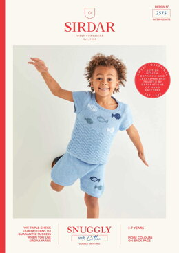 Kids Top & Short Set in Sirdar Snuggly 100% Cotton DK - 2575 - Downloadable PDF