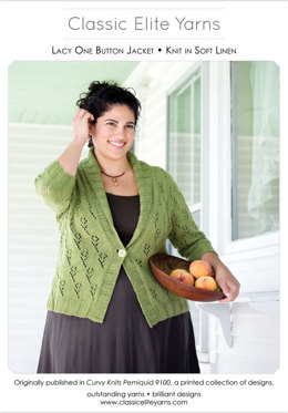 Lacy One Button Jacket in Classic Elite Yarns Soft Linen - Downloadable PDF