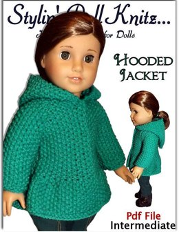 "Hooded Jacket for 18"" dolls including American Girl Doll (knit)"