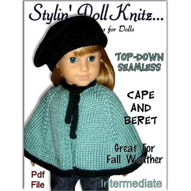 Knitting pattern. Fits American Girl Doll. Cape and Beret, 18 inch