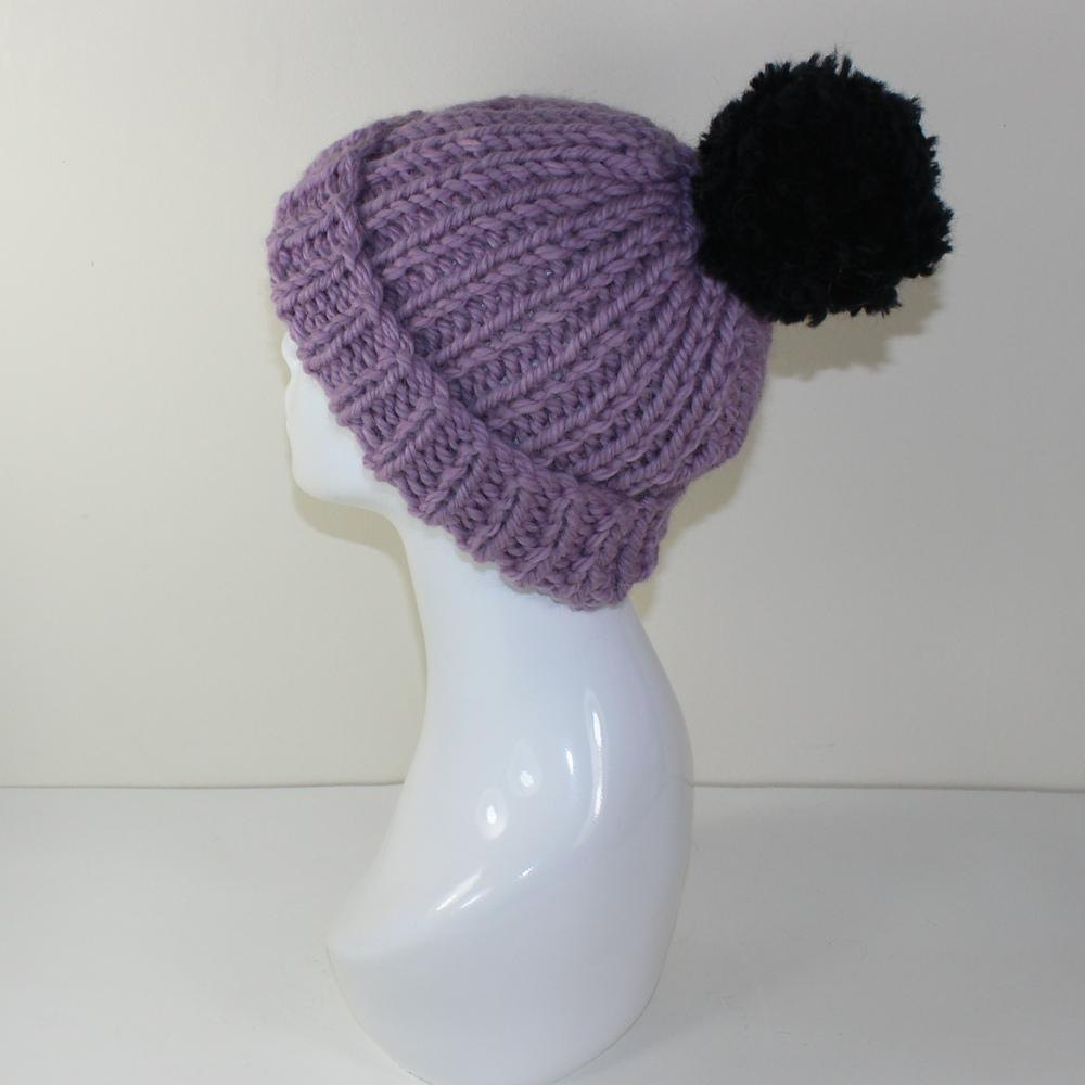 Knitting Pattern Ribbed Bobble Hat : Super Chunky Rib Bobble Beanie Hat Knitting pattern by ...