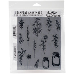 """Stampers Anonymous Tim Holtz Cling Stamps 7""""X8.5"""" - Flower Jar"""