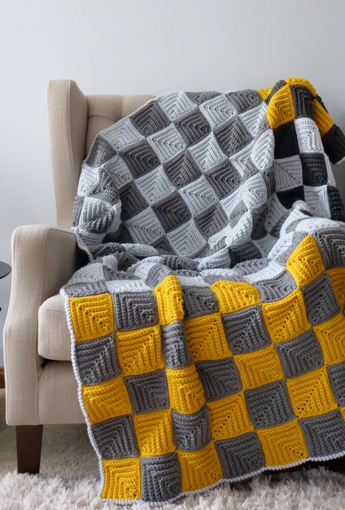 Mitered Checkerboard Afghan Crochet pattern by Brittany from B.Hooked