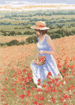 Heritage Poppy Girl Cross Stitch Kit - 13.5cm x 19cm
