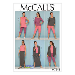 McCall's Misses'/Women's Knit Shawl Collar Jacket, Tops with Slits, and Banded Skirt and Pants M7548 - Sewing Pattern