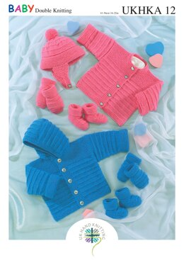 Jacket, Cardigan, Hat, Mittens and Bootees in King Cole Baby DK - UKHKA12pdf - Downloadable PDF