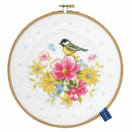 Vervaco Counted Cross Stitch Kit with Hoop - Bird and Flowers