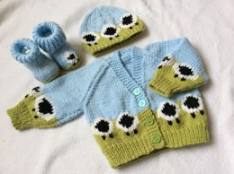 I Love EWE Sheep Cardigan Set