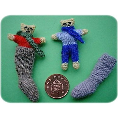 1:12th scale teddy in Christmas stocking