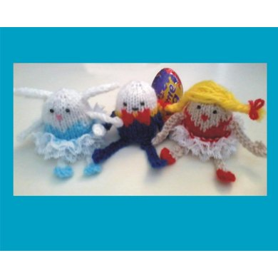 Humpty Dumpty Ballerina And Bunny Creme Egg Holders Knit In Lace