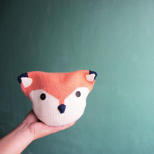 Knitted baby fox hat
