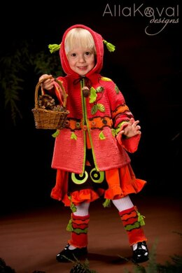 Whimsical Forest. Peek-A-Boo Hand knitted coat with crochet details