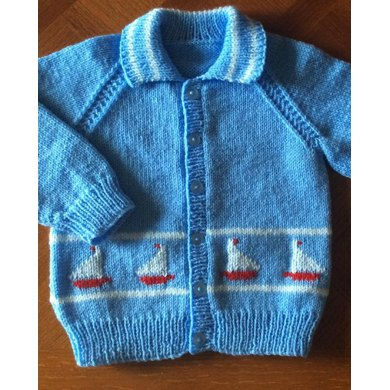 Little Yachts Cardigan with a collar, in 2 sizes