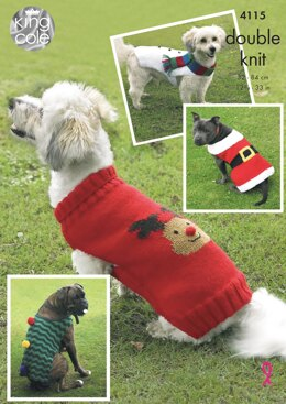Christmas Dog Coats in King Cole DK - 4115