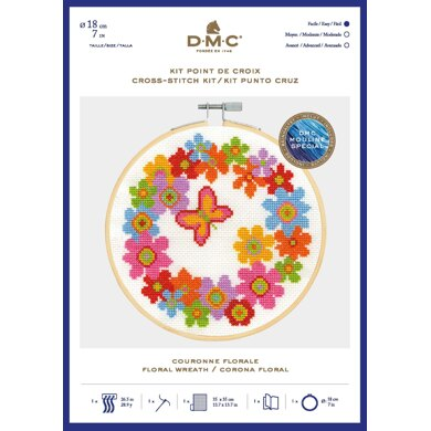 DMC Floral Wreath Cross Stitch Kit (with 7in hoop) - 7in