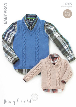 Sweater and Tank in Hayfield Baby Aran - 4505 - Downloadable PDF