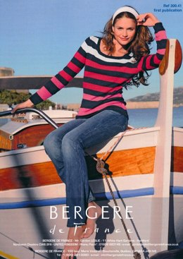 Striped Jumper in Bergere de France Coton Fifty - 30041