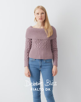 Sweater With Deep Rib Collar in Debbie Bliss Rialto DK - DB053 - Leaflet