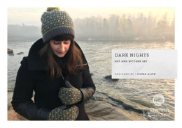 """Dark Nights Hat and Mittens Set by Fiona Alice"" - Hat Knitting Pattern For Women in The Yarn Collective"