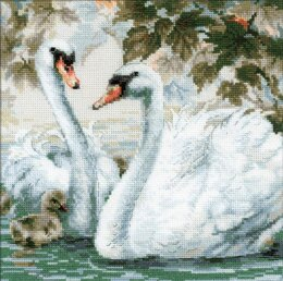 Riolis White Swans Cross Stitch Kit - 25cm x 25cm