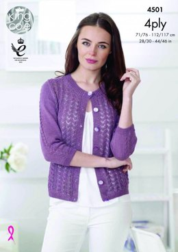 Cardigan and Top in King Cole Giza Cotton 4ply - 4501 - Leaflet