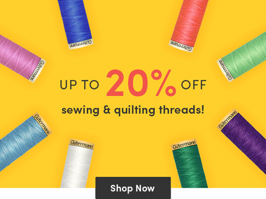 Up to 20 percent off sewing & quilting threads!