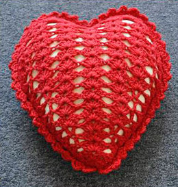 Crocheted Heart Pillow in Crystal Palace Yarns Merino 5 Solids