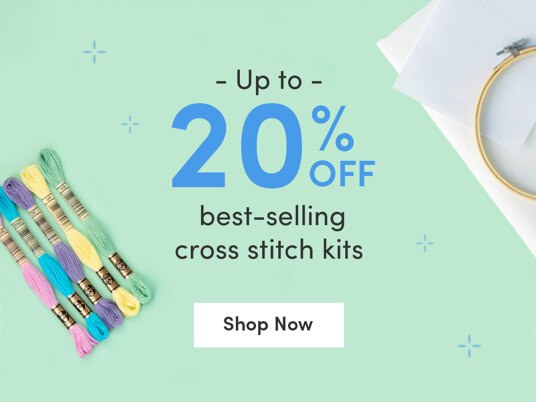 Up to 20 percent off best-selling cross stitch kits!