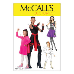 McCall's Misses'/Girls' Skeleton, Hero, Ninja or Fighter Costumes M7492 - Sewing Pattern
