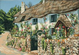 Grafitec Thatched Cottage Tapestry Canvas - 40cm x 50cm