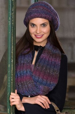 Slouchy Hat & Reversible Cable Cowl  in Red Heart Boutique Treasure - LW4189