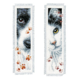 Vervaco Dog and Cat Cross Stitch Bookmarks Kit (Set of 2) - 6cm x 20cm