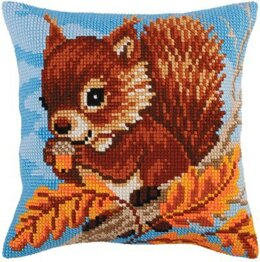 Collection D'Art Squirrel with a Nut Cross Stitch Cushion Kit - 40cm x 40cm