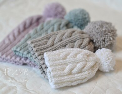 Oscar Cabled Pompom hat Knitting pattern by Pure Hand Knits
