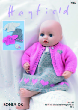 Baby Dolls Pinafore, Cardigan, Top & Pants in Hayfield Bonus DK - 2485 - Downloadable PDF