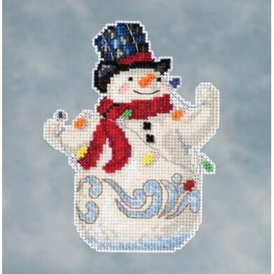 Mill Hill Snowman with Lights Cross Stitch Kit - 3.75in x 5in