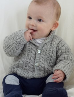 Boys Cabled Cardigan in Ella Rae Cozy Alpaca - ER-1034 - Leaflet