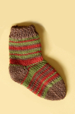 Knit Child's Striped Socks in Lion Brand Wool-Ease - 70286A