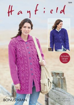 Long Jacket and Cardigan in Hayfield Bonus Aran - 7899 - Downloadable PDF