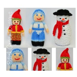 Jack Frost, Snowman & Christmas Elf Dolls Knitting Pattern