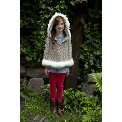 Cozy Hooded Poncho in Lion Brand Heartland - L32033