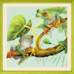 Riolis Tree Frogs Cross Stitch Kit - 20cm x 20cm