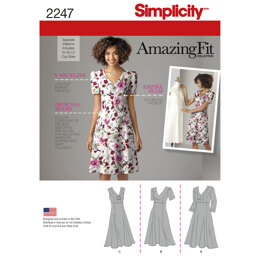 Simplicity Women's and Plus Size Amazing Fit dress for B, C, D cup sizes/C, D, DD cup sizes 2247 - Sewing Pattern