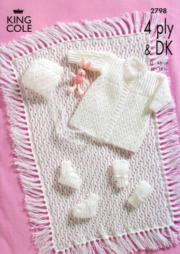 Matinee Coat, Bonnet, Booties, Mitts and Pram Cover in King Cole Big Value Baby DK & 4 Ply - 2798
