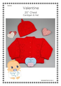 "Valentine baby knitting pattern cardigan and hat 20"" chest"